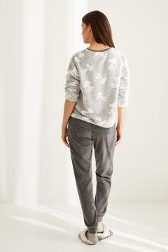 Womensecret Pijama largo polar gris Snoopy  gris