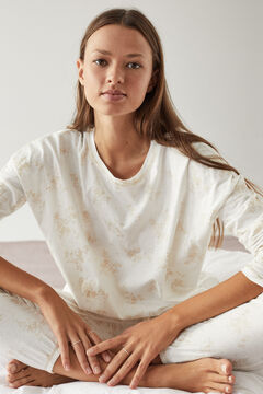 Womensecret Long floral pyjamas in 100% organic cotton  nude