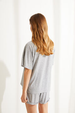 Womensecret Grey super soft jersey-knit short-sleeved pyjamas grey