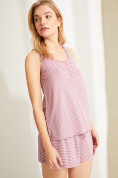 Womensecret Short striped pink striped super soft jersey-knit vest pyjamas pink