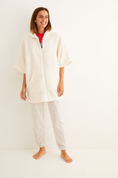 Womensecret White fleece robe with hood beige