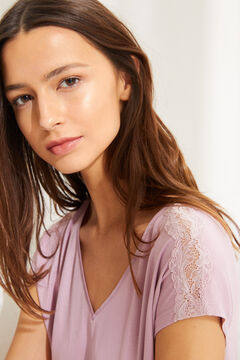 Womensecret Pijama manga corta Capri punto súper soft rosa rayas rosa