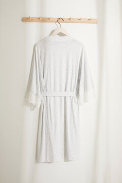 Womensecret Maternity robe with lace and ruffle grey