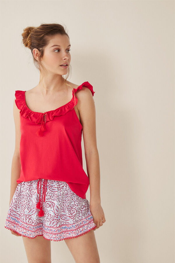 d6009e9b5 Womensecret Pijama corto paisley rojo
