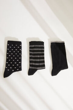 Womensecret Pack of 3 long black printed socks black