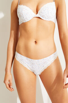 Womensecret Classic panty in organic cotton with floral print white