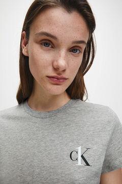Womensecret Camiseta de manga corta de algodón con logotipo de Calvin Klein gris