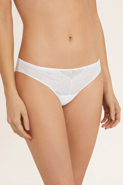 Womensecret Flocked tulle and lace panties white