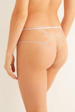 Womensecret Ecru lace classic strappy panty grey