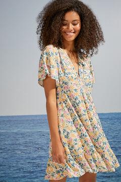 Womensecret Short floral flounced crossover dress white