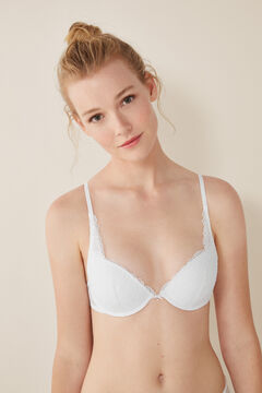 Womensecret Classic lace and plumetti bra white