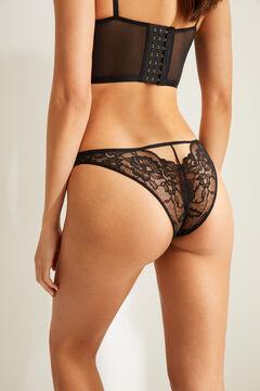 Womensecret Classic black lace strap details panty black