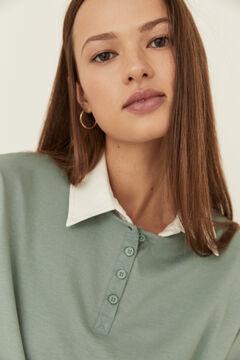 Womensecret Green cotton long-sleeved Henley top green