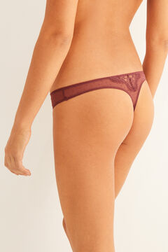 Womensecret Plumetis and lace burgundy tanga red