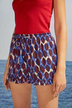 Womensecret Pantalon court fluide imprimé tropical bleu blanc