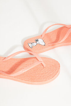 Womensecret Coral Snoopy sandals with raffia effect red