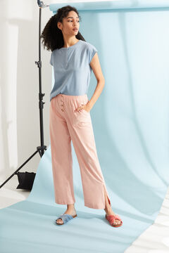 Womensecret Pink cotton long palazzo bottoms pink