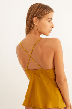Womensecret Mustard satin and lace cami printed