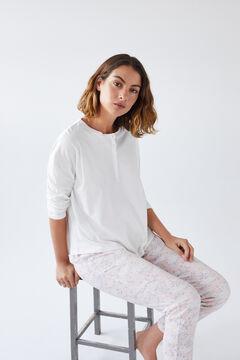 Womensecret Ecru cotton long-sleeved Henley T-shirt beige
