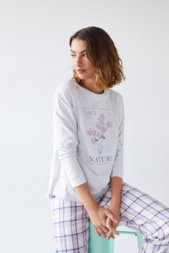 Womensecret Grey cotton long-sleeved T-shirt grey