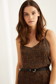 Womensecret Animal print nightgown with straps black