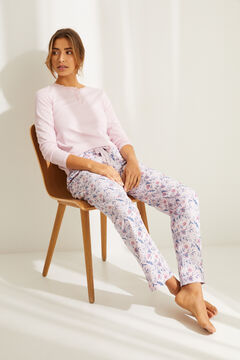 Womensecret Floral print pyjama set with Henley t-shirt and long bottoms