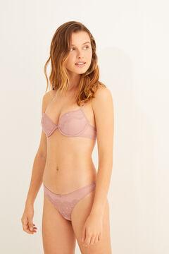 Womensecret Conjunto de plumeti e renda flocado rosa