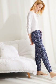 Womensecret Floral print pyjama set with long-sleeved t-shirt and matching bottoms