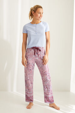Womensecret Paisley print pyjama set with Henley t-shirt and bottoms