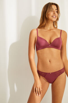 Womensecret Maroon triangle bra and Brazilian panty set