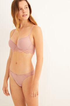 Womensecret Conjunto de plumeti y encaje rosa
