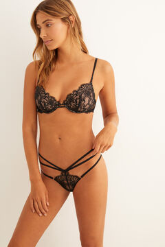 Womensecret Black lace and mesh set