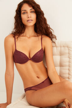 Womensecret Plumeti and lace underwired burgundy set