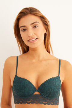 Womensecret Classic green lace bra and tanga set