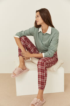 Womensecret Green baker T-shirt and checkered trousers set