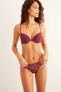 Womensecret Maroon push-up bra and thong set