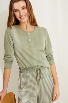 Womensecret Green pyjama set with Henley t-shirt and jogger bottoms