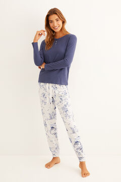 Womensecret Blue and grey printed pyjama set