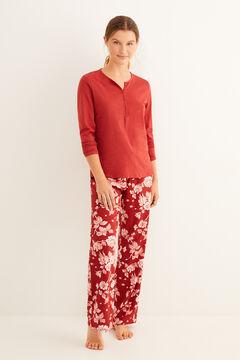 Womensecret Maroon floral print pyjama set