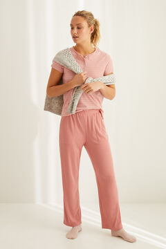 Womensecret Pyjama set with short-sleeved Henley t-shirt and wide leg trousers