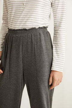 Womensecret Grey pyjama set with Henley t-shirt and wide leg bottoms