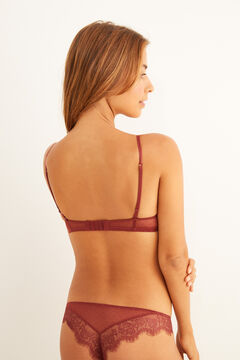 Womensecret Plumeti and lace burgundy set