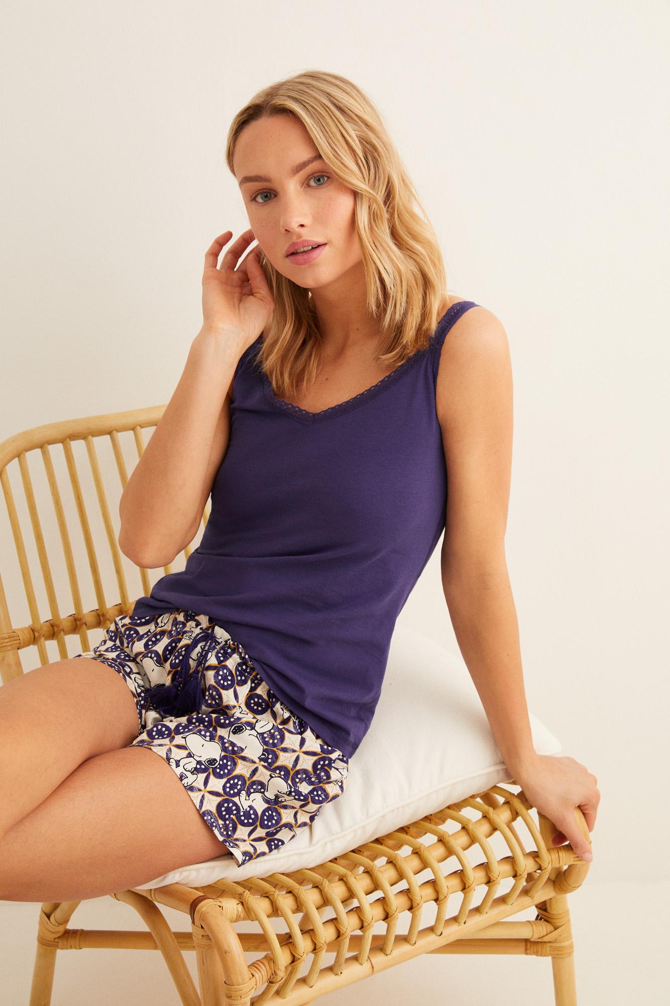 Camiseta tirantes encaje | Camisetas | Women'secret
