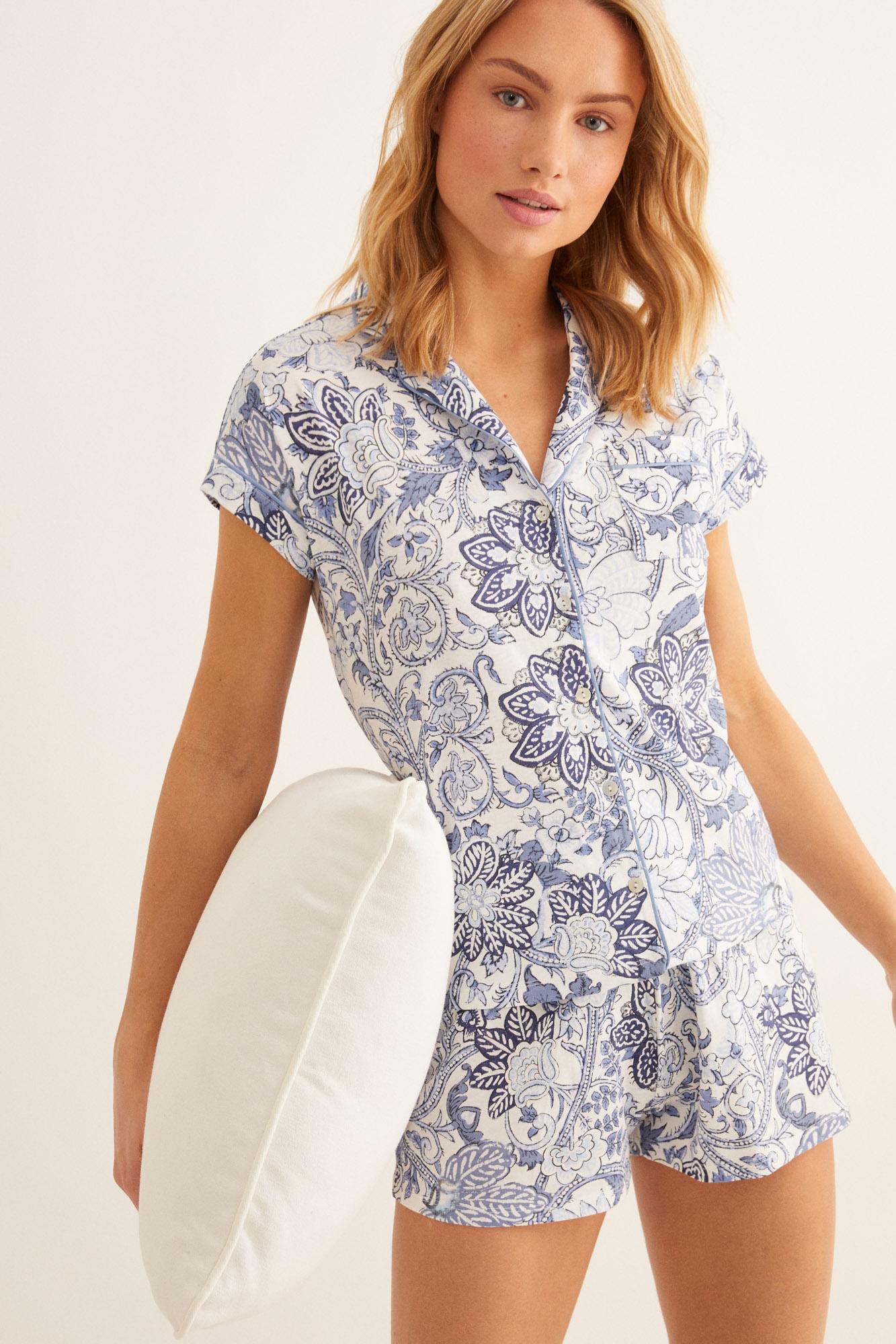 Pijama corto camisero floral   Pijamas cortos   Women'secret