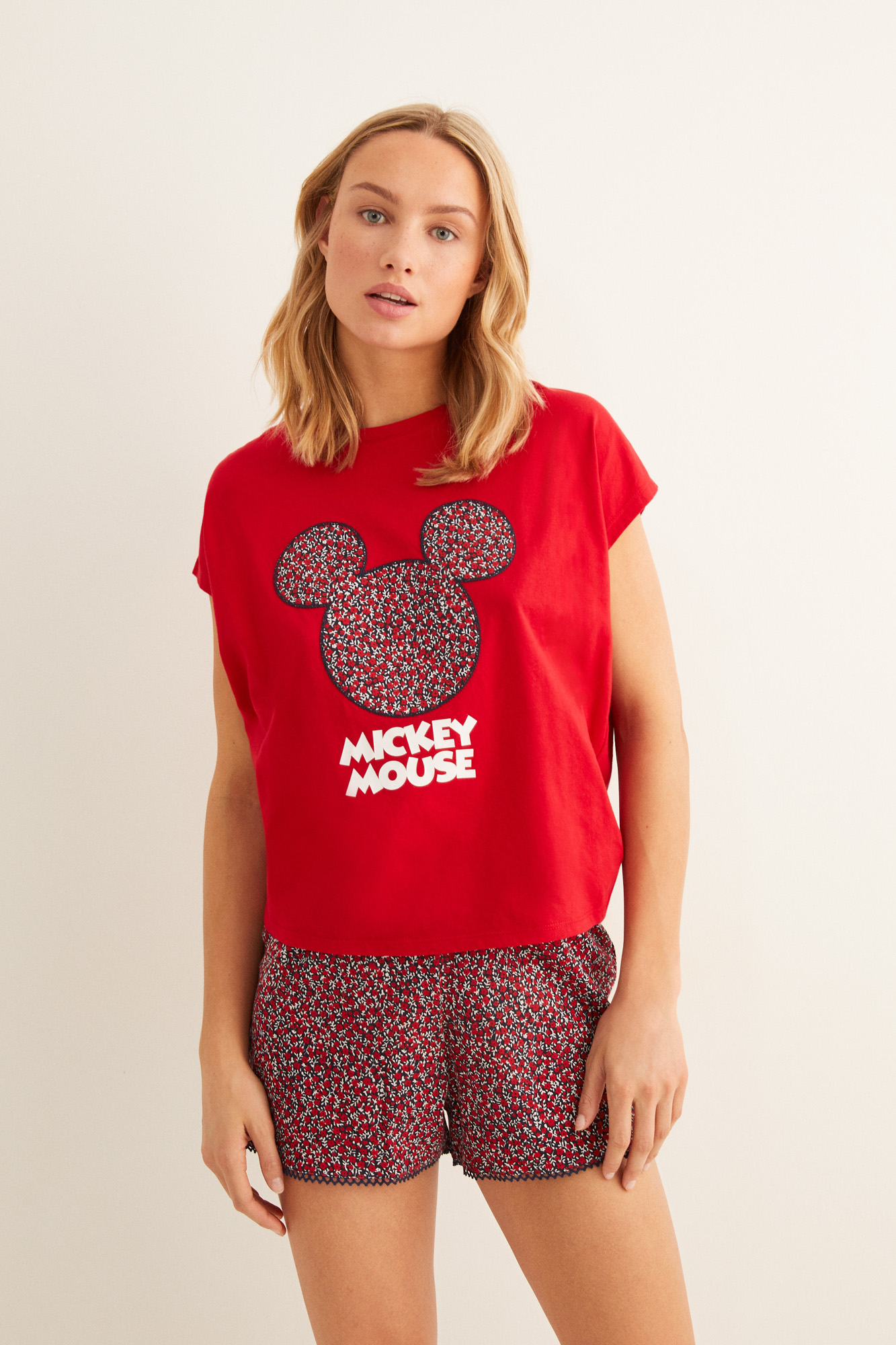 Pijama corto Mickey floral | Pijamas cortos | Women'secret
