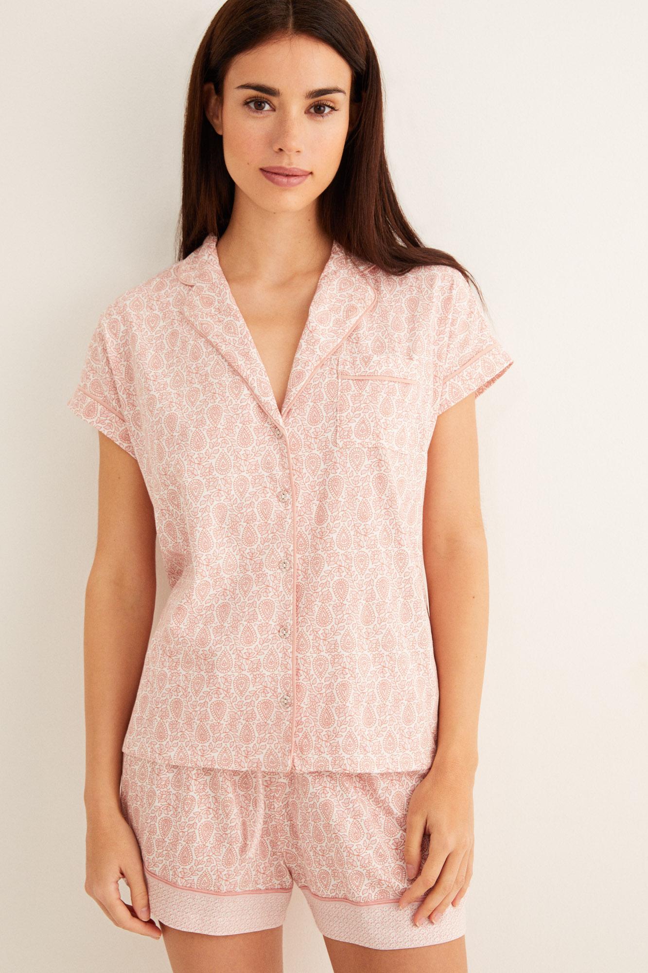 Pijama corto camisero cenefa   Pijamas cortos   Women'secret